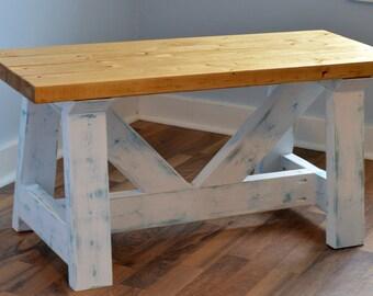 Wooden Farmhouse Bench