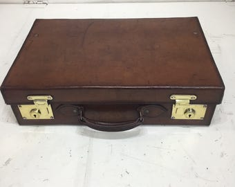 Lovely size vintage leather suitcase