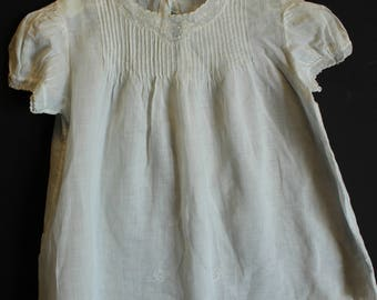 Vintage Shabby Chic pleated and embroidered baby dress