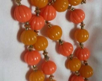 Vintage multi orange colored beaded necklace hong Kong