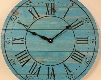 "24"" Wall Clock - Custom Farmhouse & Rustic Style in Antique Aqua"
