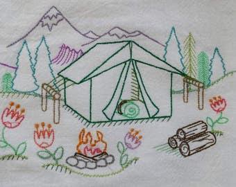Tent Glamping Camping  Flour Sack Kitchen Towel