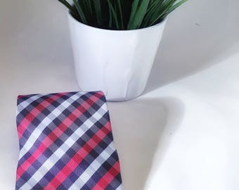 "Red and blue checked tie (3 1/2"")"