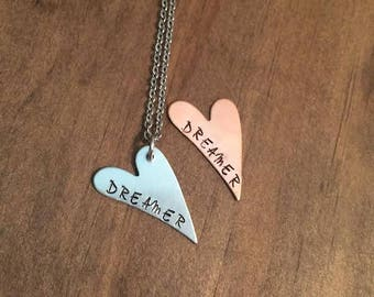 Dreamer Heart Necklace, Hand Stamped Heart Necklace, Dreamer Neckace, Gifts for Her, Inspirational Jewelry, Women's Necklace