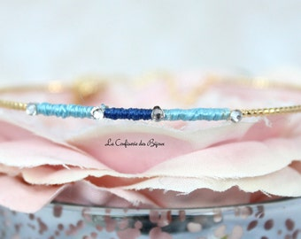 Bracelet silver plated ring, sky color