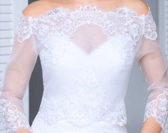 Bridal top with lace  3/4 sleeves