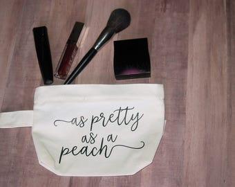 As Pretty As a Peach  Canvas Cosmetic Make-up Bag