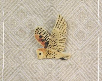 Brooch Barn owl in flight