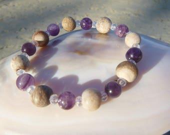 earth and sky bracelet: petrified wood stone, amethyst