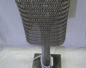 Steel Lamp With Stainless Steel Chainmail Lampshade LED Bulb Handmade