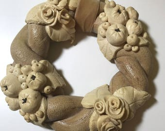 Beautiful wreath out of salt dough, glazed, Sommerdeko, 20 cm diameter