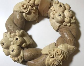 Beautiful wreath out of salt dough, glazed, Sommerdeko, 20 cm diameter