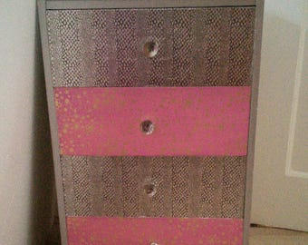 SOLD Silver and pink small chest of drawers/bedside cabinet