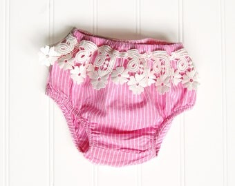 Bohemian Baby Lace Bloomers | Pink Diaper Cover | Fringe Baby Girl Bottoms | Upcycled Baby Clothes | Newborn Photo Outfit | Boho | 0-3 Mo