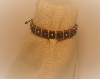 Leather hand stitched bracelets, rings and hatbands