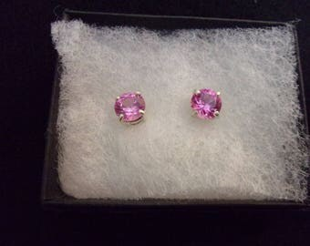 Pink Lab Sapphire Stud Earrings Set in Sterling Silver