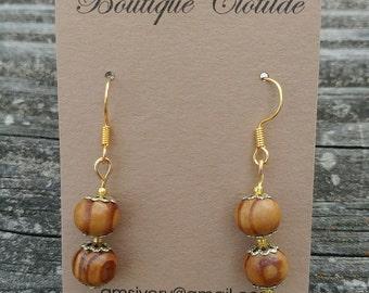 Tawny Wood and Gold Cap Dangle Earrings