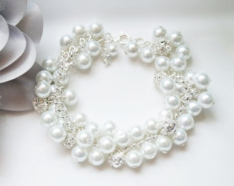 Pearl & Pave Crystal/Rhinestone Cluster Bridal, Bridesmaid, or Flower Girl Wedding/Prom Bracelet