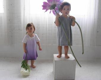 T-shirt dress, girl dress, baby girl t-shirt dress, knit dress, loose fitting t-shirt dress, ombre dress, purple dress