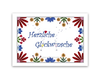Greeting card to the congratulations - pressed flowers motif