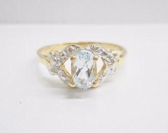 Aquamarine Ring, Gold Aquamarine Ring, Vintage Aquamarine Ring, Genuine 10k Yellow Gold Oval Aquamarine Ring Sz 8 #1701