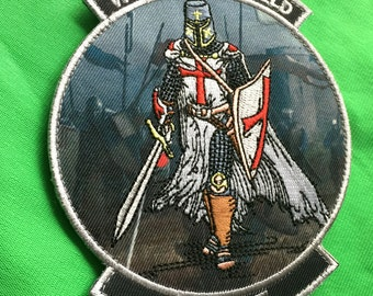 With Your Shield Or On It Morale Patch Crusader Templar Knights Sword Cross VELCRO® Genuine Hook And Loop Fastener QUALITY