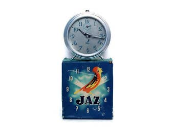 Silver Jaz alarm clock from France with original box -- French home decor -- reveil timepiece