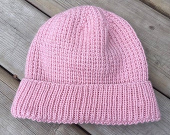 Broken Rib Slouch Hat (in rose pink)
