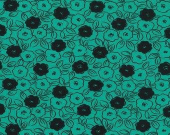 Pool Green Black Floral- curtains, throw pillows, roman shades