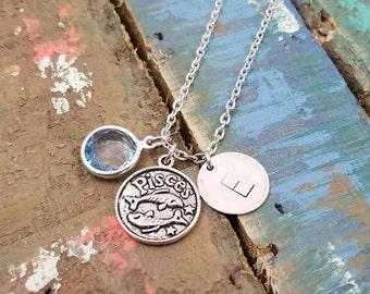 Pisces Zodiac Jewelry, Pisces Necklace, Birthday Necklace, Astrology Jewelry,  Zodiac Necklace, Pisces, Aries, Gemini