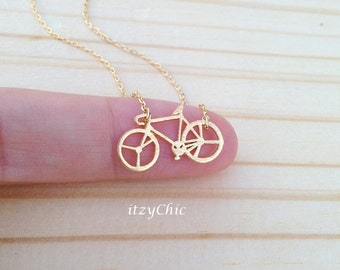 Bike Necklace, Bicycle Necklace in Gold