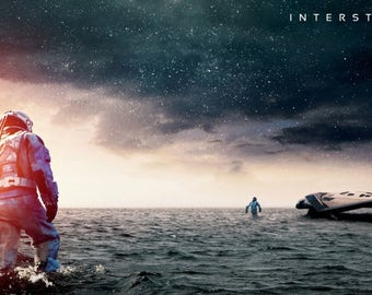 Interstellar Movie Astronaut Water Space Ship Creative Gift Poster