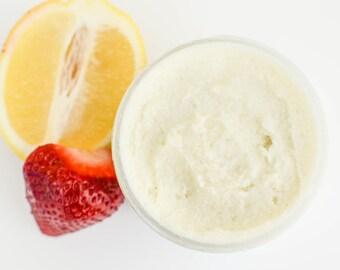 Strawberry Lemon Scrub, Whipped Sugar Scrub, Lemon Scrub, Summer Scrub, Body Scrub, Sugar Scrub, Face Scrub, Whipped Scrub, Emulsified Scrub