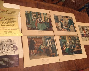 Vintage A History Of Pharmacy In Pictures Pfizer Parke Davis Co Unused Display