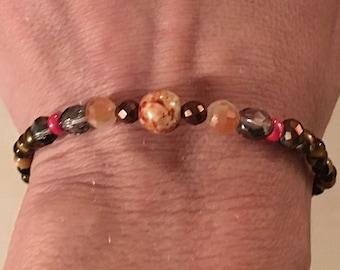 Cherry red, burnt orange & bronze bracelet