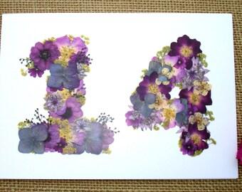 No 14, Wife 14th Anniversary, Blank Card, Friend 14th Anniversary, Husband 14th Anniversary, Daughter Birthday, English Pressed Flower PRINT