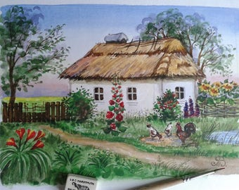 """Wall decor. Painting """"House in the village"""""""