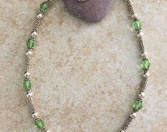 Peridot Swarovski Crystal  and Sterling Silver Bead Necklace