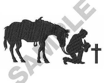 Cowboy Horse And Cross - Machine Embroidery Design