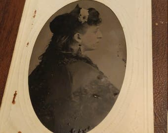 Prominent Profile:  Antique Tintype Photograph of Woman's Back and Profile