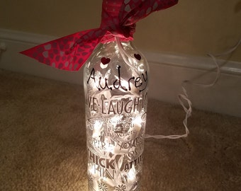 Personalized lighted bottle