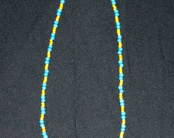 Wooden Blue and Yellow Beads