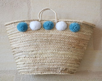 Very large Bohemian braided tassels hand basket also called basket Wicker