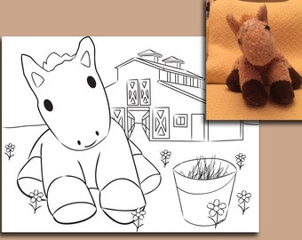 Custom coloring pages featuring your child's favorite toys!  Send photo(s) and choose optional background.