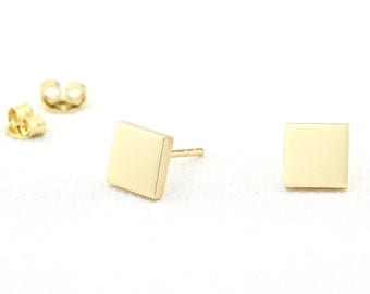 14K Gold Dainty Square Stud Earrings/ Custom Gold Color Geometric Design Jewelry/ Minimalist Tiny Studs Gift for Her/ Graduation Gift