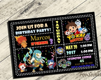 yokai2 invitation,yokai 2birthday invitation,yokai2 birthday party,invitacion yokai2,yokai invitation,yokai watch2 invitation,partido yokai2