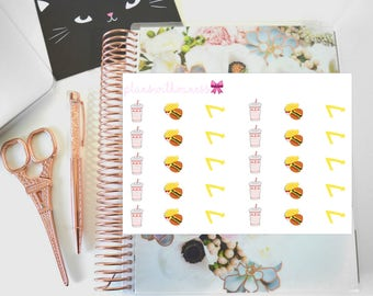In N Out Burger Lover (Fries and Drink) Hand Drawn Planner Stickers
