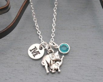 Mommy Baby Elephant Necklace, Personalized Mommy Baby Necklace, New Baby Necklace, Initial Necklace, New Mom Gift, Cute Elephant Necklace