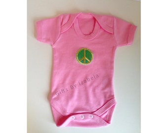 Short sleeve Baby Grow, Peace Sign, Baby Girl, New Baby, Baby Gift, Pink Bodysuit, Organic Cotton, Baby Shower