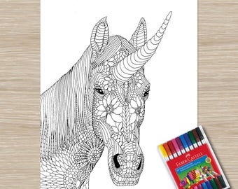 Printable Unicorn Coloring Page | unicorn coloring | adult coloring page | stress relief | anxiety relief | coloring pages for adults